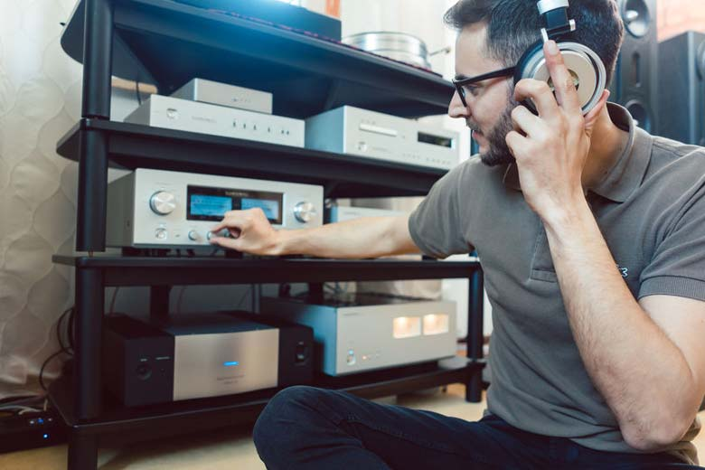Audiophile listening to Hi-Fi equipment