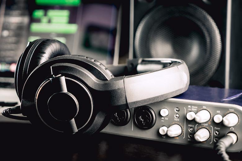 Headphones connected to audio interface